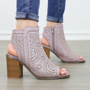 Mauve Laser cut Design Open Toe  Ankle Boots